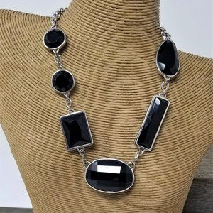 "NWT Ann Taylor Silver & Black Necklace 18"" Modern"